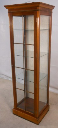 Antique Style Yew Tall Narrow Display Cabinet - SOLD
